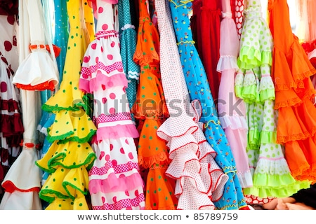 colorful gipsy dresses in rack hanged in Spain Stock photo © lunamarina