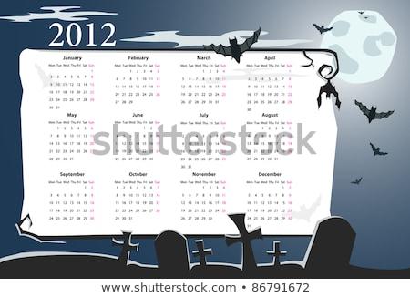 Vector Halloween Calendar 2012 With Cemetery Photo stock © Elisanth