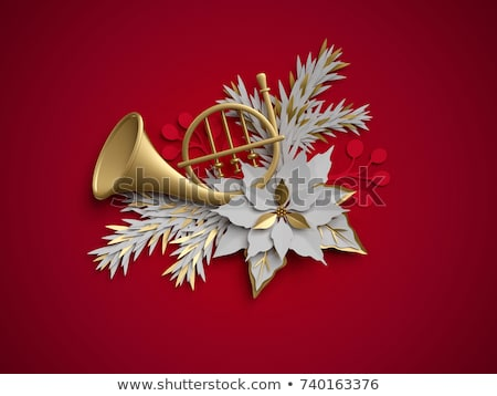 Stock photo: Red flower on French Horn