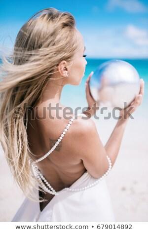 sarışın · kız · inciler · portre · güzel · kadın - stok fotoğraf © fouroaks