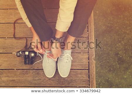 Cor meu pé círculo sapatos sandálias Foto stock © lovleah