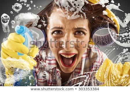Boos vrouw schoonmaken grappig borstel wassen Stockfoto © smithore