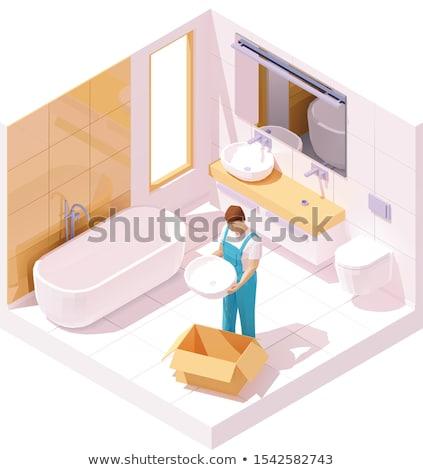 A Plumber Setting A Sink Stok fotoğraf © tele52