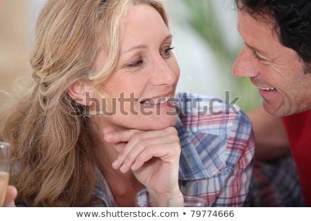 Sorridente casal outro champanhe óculos vista Foto stock © photography33