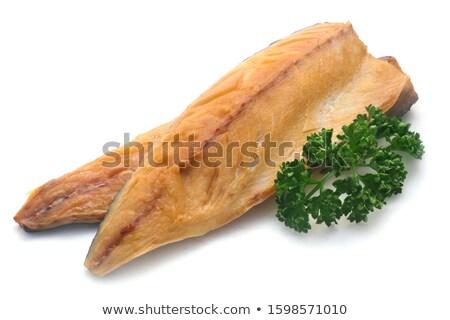 Füme alabalık ölçek yemek sağlıklı Stok fotoğraf © PaZo