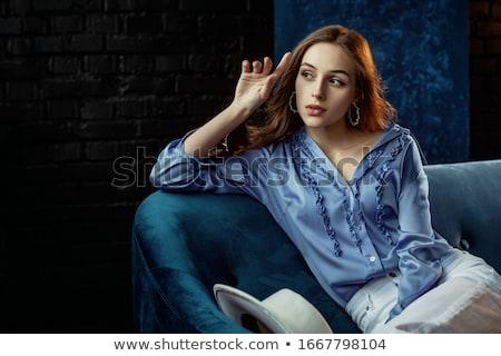 Portret atrakcyjny elegancki kobieta niebieski hat Zdjęcia stock © artjazz