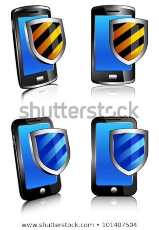Phone shield antivirus 3D and 2D Stock photo © fenton