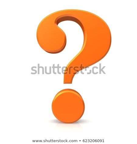Oranje vraagteken karakter gelukkig ontwerp Stockfoto © JohanH
