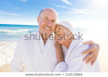 közelkép · pár · égbolt · szeretet · férfi · tenger - stock fotó © photography33