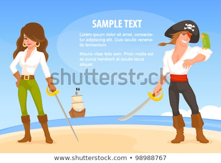 Pirate - young woman with pirate hat and rapier Stock photo © pzaxe