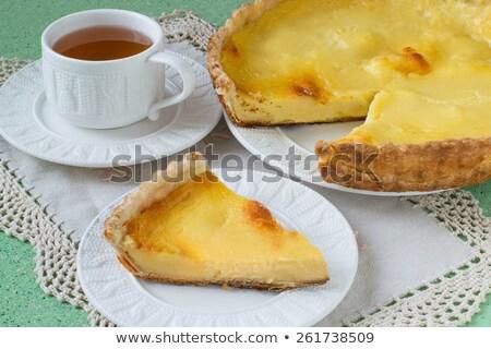 Stockfoto: Plakje · vla · taart · voedsel · diner · ontbijt
