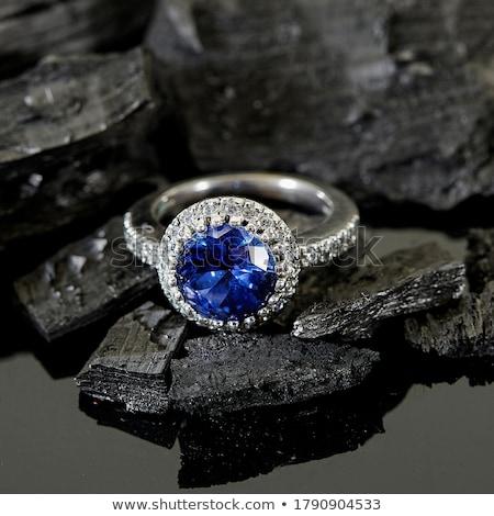 Zwarte saffier edelsteen mode diamant sieraden Stockfoto © Rozaliya