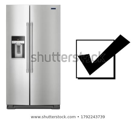 Podwoić drzwi zamrażarka odizolowany biały kuchnia Zdjęcia stock © ozaiachin