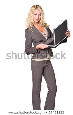 női · bankár · fiatal · üzlet · elemző · öltöny - stock fotó © photography33