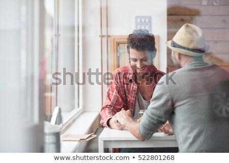elragadtatott · pár · megnyugtató · cég · otthon · szeretet - stock fotó © photography33