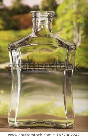Iki şişeler şarap rustik pencere eşiği bahar Stok fotoğraf © photography33