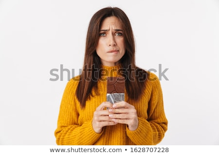 jonge · vrouw · reusachtig · bar · chocolade · vrouw · voedsel - stockfoto © iko