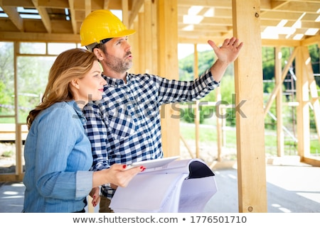 Female builder with a timber A-frame Stock photo © photography33