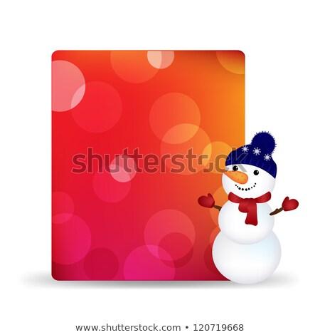 cartellone · pupazzo · di · neve · Natale · blu · design · frame - foto d'archivio © adamson