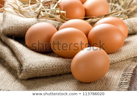 raw eggs in straw stock photo © deyangeorgiev