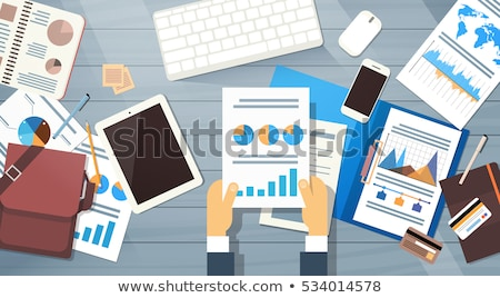 tablet, cell phone and financial documents Stock photo © adam121