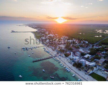 tropical mexican coast at sunset stock photo © elenaphoto