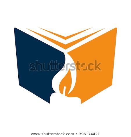 Stockfoto: Vector · icon · boek · kaars · studie · kant