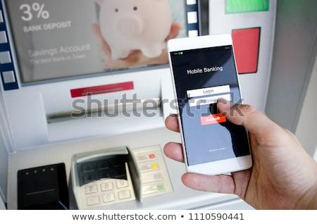 Bancaire cash atm man pin hand Stockfoto © Hofmeester