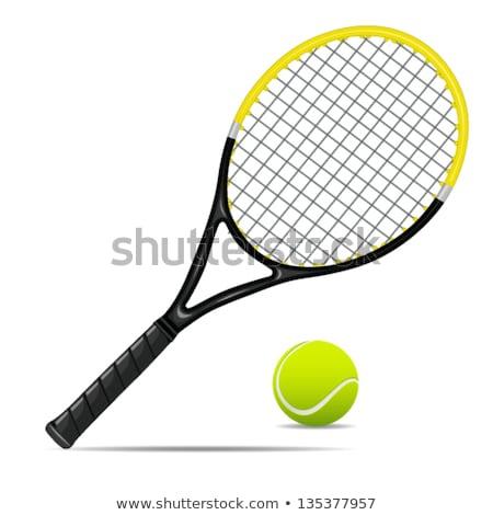 Теннисная · ракетка · теннисный · мяч · щит · фон · спортивных · мяча - Сток-фото © nicky2342