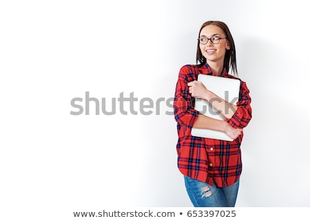 brunette woman hug laptop computer stock photo © lunamarina