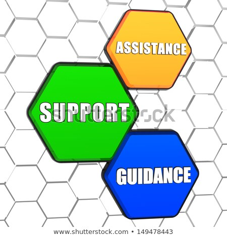 assistance, support, guidance in colorful hexagons Stock photo © marinini