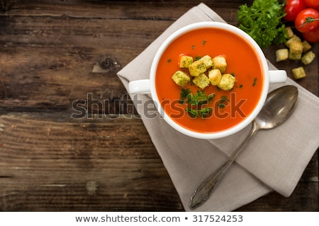 Foto stock: Tomato Soup With Croutons