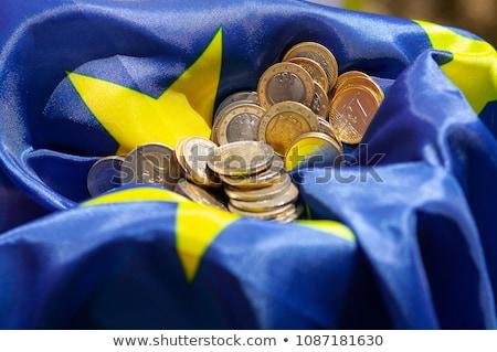 Stockfoto: Euro · munten · eu · vlag · Blauw · europese
