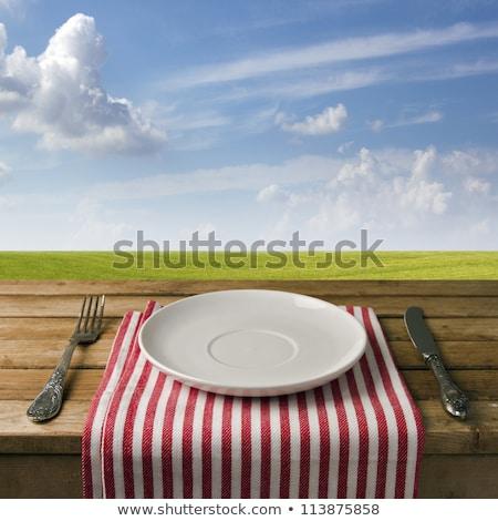 üres asztal kék ég termék elhelyezés felhők Stock fotó © stevanovicigor