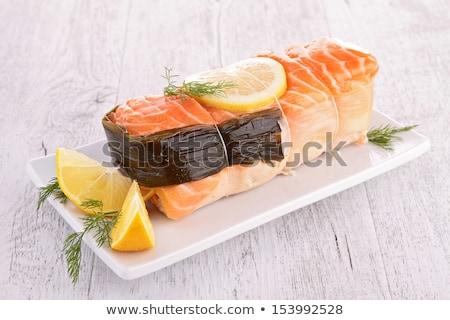 Salmão recheado alho-porro comida peixe fundo Foto stock © M-studio