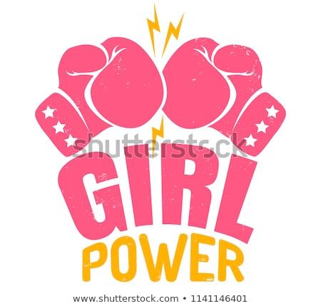 vektor · gyönyörű · lány · boxkesztyűk · arc · szexi · fitnessz - stock fotó © Glenofobiya