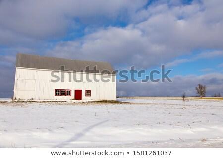 Rot Scheune grau Winter Nachmittag alten Stock foto © tainasohlman