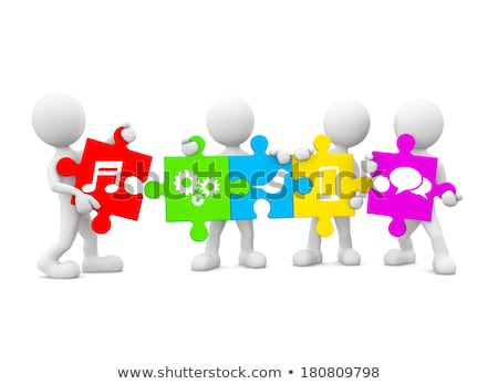 white speech bubble icon on multicolor puzzle stock photo © tashatuvango