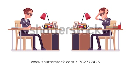 Female police office isolated on the white Stock photo © Elnur