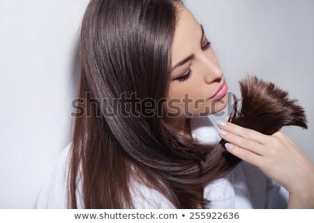 美しい ブルネット 髪 櫛 肖像 少女 ストックフォト © dukibu