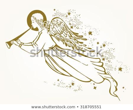 ange · trompette · silhouette · flocons · de · neige · Noël · illustration - photo stock © mkucova