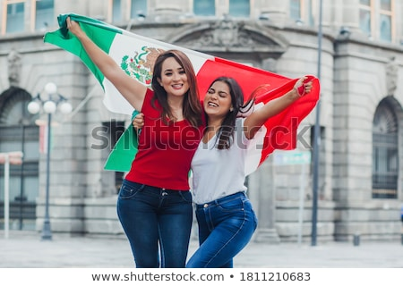México bandera hombre banner mexicano Foto stock © stevanovicigor