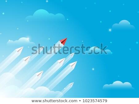Cloud Solutions on Red in Flat Design. Stock photo © tashatuvango