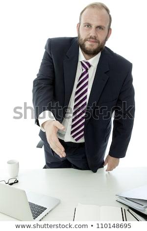 борода деловой человек приветствую давать стороны столе Сток-фото © sebastiangauert