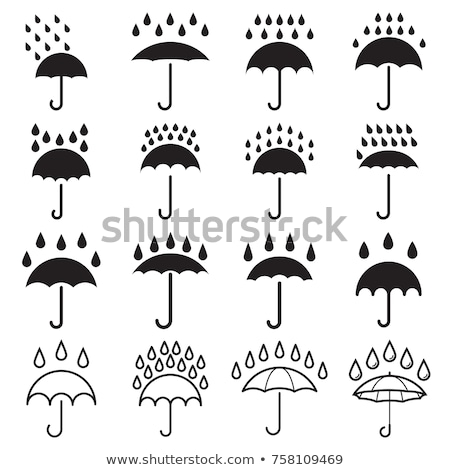 flat icons of rainy weather with cloud rain drops and umbrella stock photo © loopall