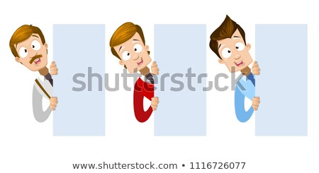 businessmen cartoon characters looking at blank poster set stock photo © voysla