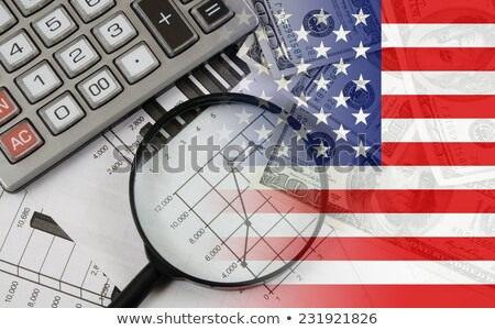 Market Financial Data with flag of USA Stock photo © m_pavlov