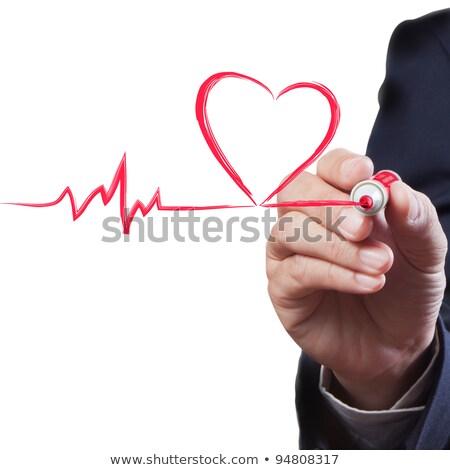 Businessman Drawing Heart Diagram Stok fotoğraf © SuriyaPhoto