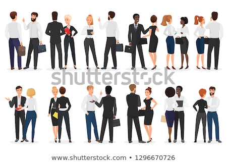 two people standing and talking with speech bubbles stock photo © designers