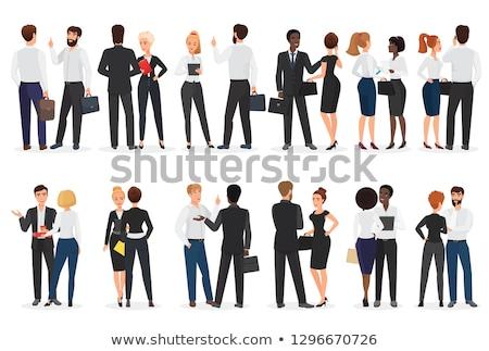 Deux personnes permanent parler ordinateur travaux Photo stock © designers